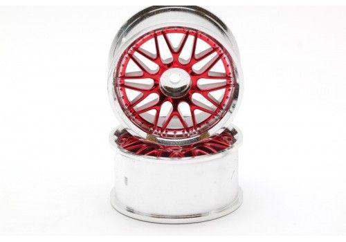 Диски - 20 парных лучей красный/хром (2шт)