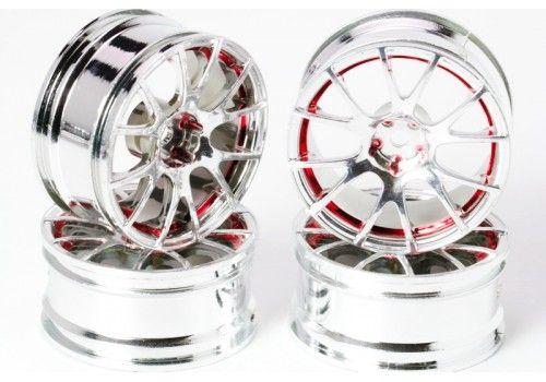 Диски - 12 лучей хром/красная окантовка