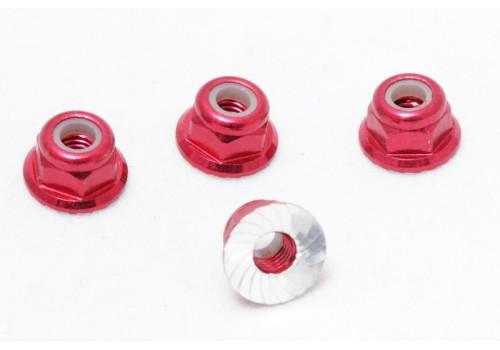 Алюминиевая гайка М3 с нейлоновым фиксатором (красный)