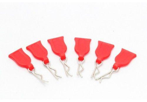 Клипсы с красным резиновым держателем 6шт.